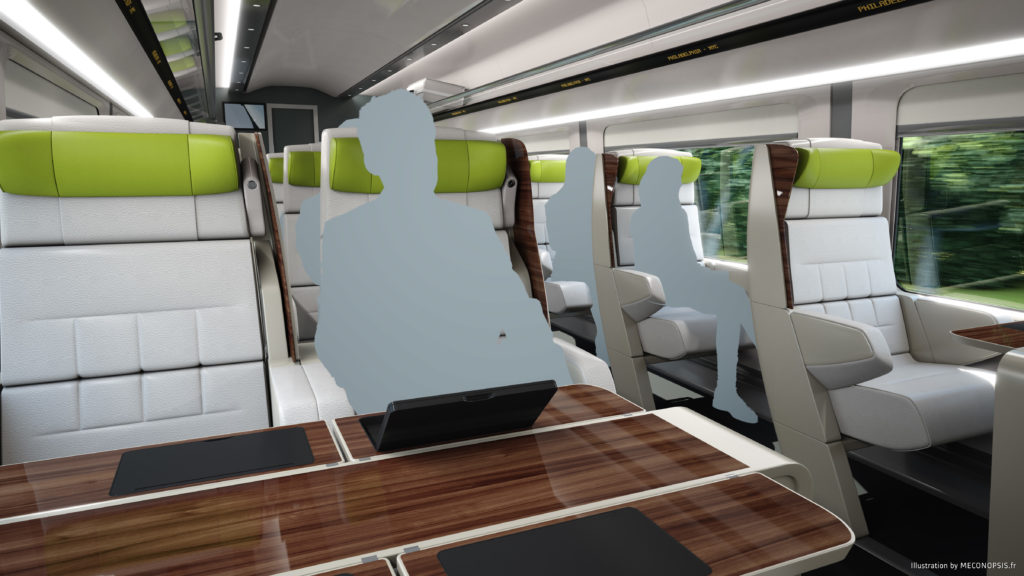 Proposed rendering of First Class interior on new Amtrak high-speed trainsets