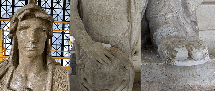 Close-ups of the head, hand and foot of a plaster statue of a man.