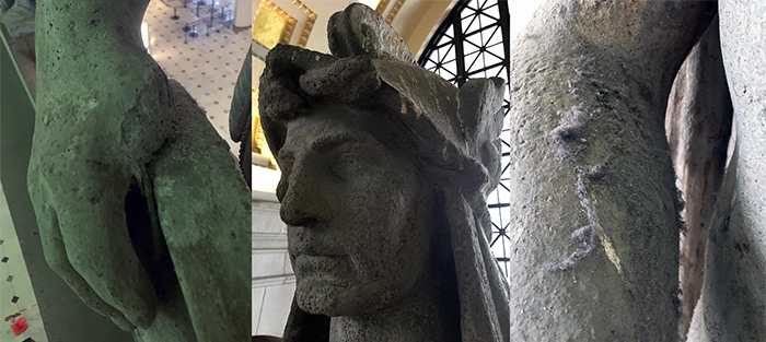 Close-ups of the head, arm and hand of a plaster statue of a man.